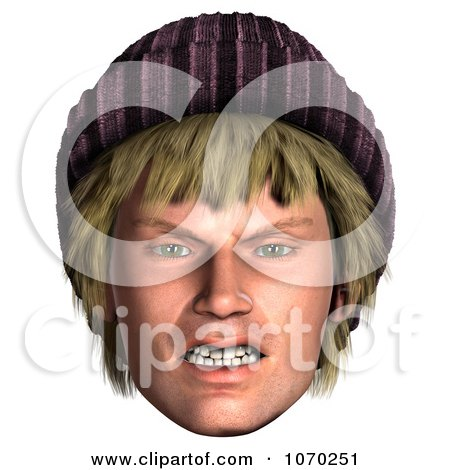 Clipart 3d Mad Hippie Mans Face 1 - Royalty Free CGI Illustration by Ralf61
