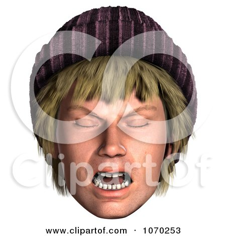 Clipart 3d Mad Hippie Mans Face 2 - Royalty Free CGI Illustration by Ralf61