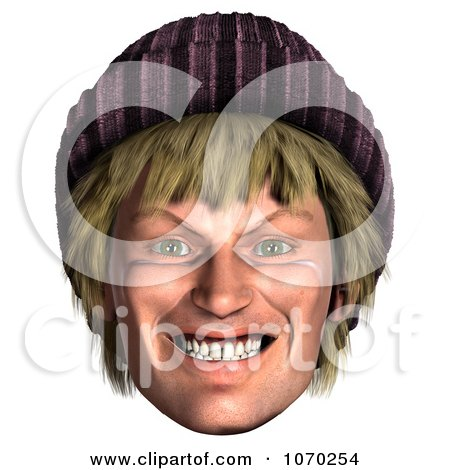 Clipart 3d Evil Hippie Mans Face - Royalty Free CGI Illustration by Ralf61