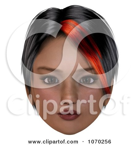Clipart 3d Girl With A Red Streak In Her Hair - Royalty Free CGI Illustration by Ralf61