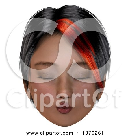 Clipart 3d Puckering Girl With A Red Streak In Her Hair - Royalty Free CGI Illustration by Ralf61