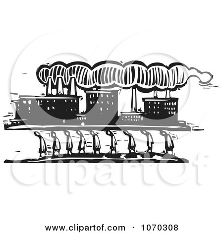 Clipart Woodcut Styled Line Of People Walking Near A Factory - Royalty Free Vector Illustration by xunantunich