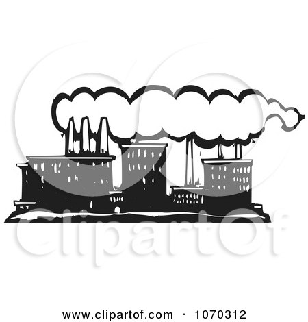 Clipart Woodcut Styled Line Factory - Royalty Free Vector Illustration by xunantunich