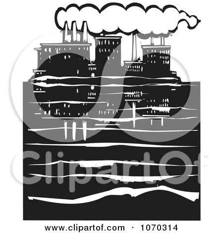Clipart Woodcut Styled Waterfront Factory - Royalty Free Vector Illustration by xunantunich