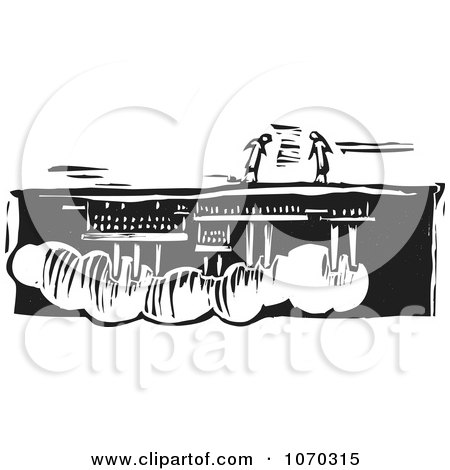 Clipart Woodcut Styled People Over An Upside Down Factory - Royalty Free Vector Illustration by xunantunich