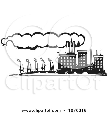 Clipart Woodcut Styled Line Of People Walking By A Factory - Royalty Free Vector Illustration by xunantunich