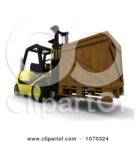 Clipart 3d Crate On A Forklift - Royalty Free CGI Illustration by KJ Pargeter