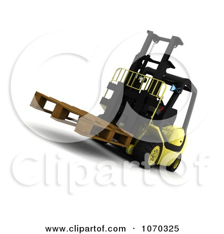 Clipart 3d Pallet On A Forklift - Royalty Free CGI Illustration by KJ Pargeter