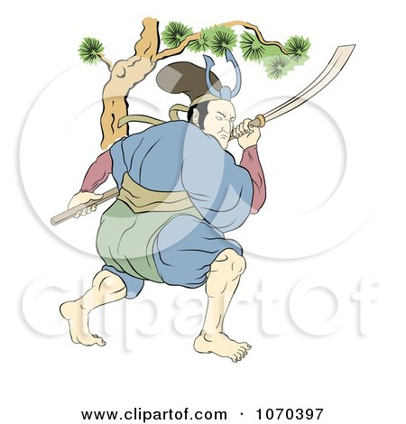 Clipart Samurai Warrior Fighting With A Sword 1 - Royalty Free Illustration by patrimonio