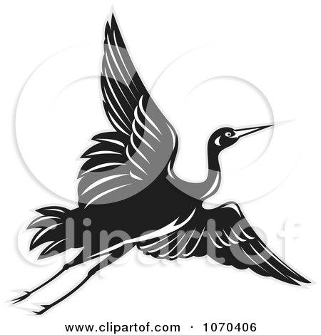 Clipart Black Crane In Flight - Royalty Free Vector Illustration by patrimonio