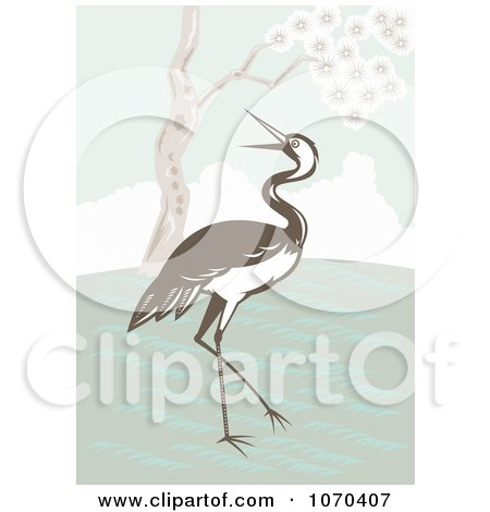 Clipart Brown Crane Near A Tree - Royalty Free Vector Illustration by patrimonio