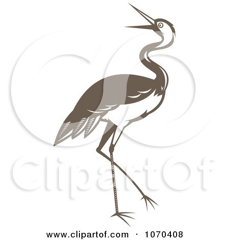 Clipart Brown Crane - Royalty Free Vector Illustration by patrimonio