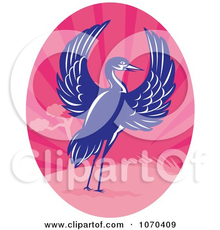 Clipart Blue Crane And Pink Landscape - Royalty Free Vector Illustration by patrimonio