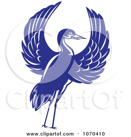 Clipart Blue Crane With Open Wings - Royalty Free Vector Illustration by patrimonio