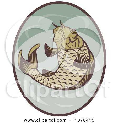 Clipart Jumping Koi Fish Logo - Royalty Free Vector Illustration by patrimonio