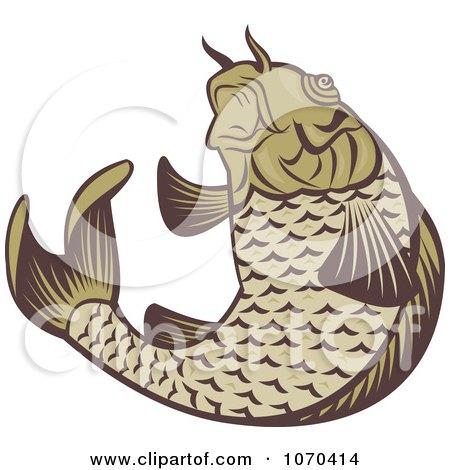 Clipart Jumping Carp Fish Logo - Royalty Free Vector Illustration by patrimonio