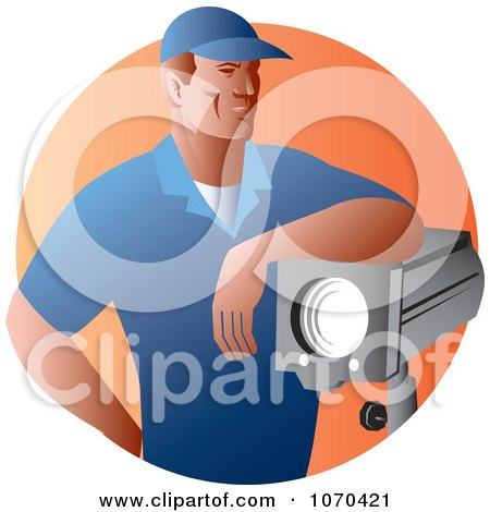 Clipart Lighting Crew Worker - Royalty Free Vector Illustration by patrimonio