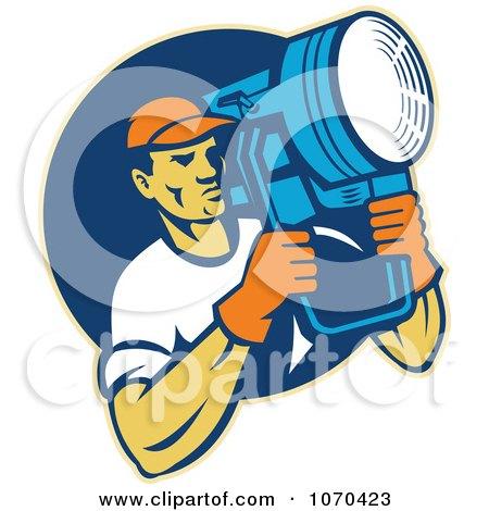 Clipart Lighting Crew Man Holding A Spot Light - Royalty Free Vector Illustration by patrimonio