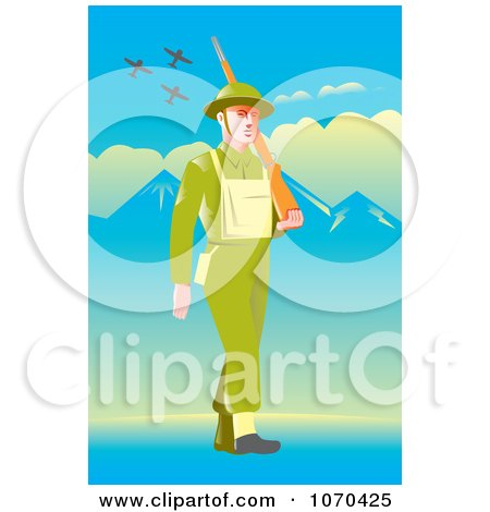 Clipart British Soldier Pacing - Royalty Free Vector Illustration by patrimonio