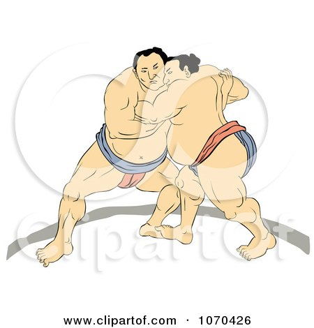 Clipart Two Sumo Wrestlers Engaged In A Match - Royalty Free Illustration by patrimonio