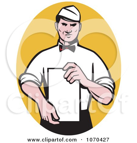 Clipart Waiter Presenting A Menu - Royalty Free Vector Illustration by patrimonio