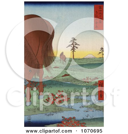 Two Horses Grazing In A Landscape With A Stream In Kogane Fields In Shimosa Province, Mt Fuji In The Distance - Royatly Free Historical Stock Illustration by JVPD