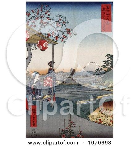 Women at an Outdoor Teahouse at Zoshigaya Near Mount Fuji, Japan - Royatly Free Historical Stock Illustration by JVPD