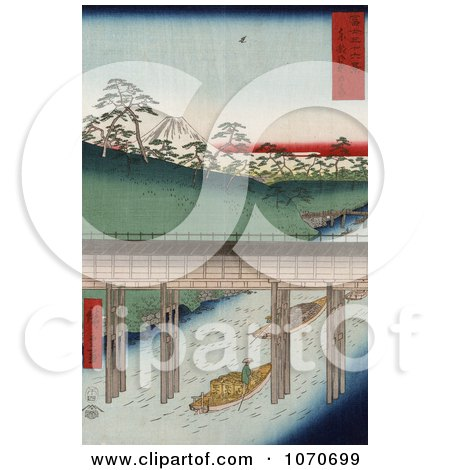 Boat Carrying Cargo, Passing Under a Conduit on the Tea-Water Canal Near Mt Fuji, Tokyo, Japan - Royatly Free Historical Stock Illustration by JVPD