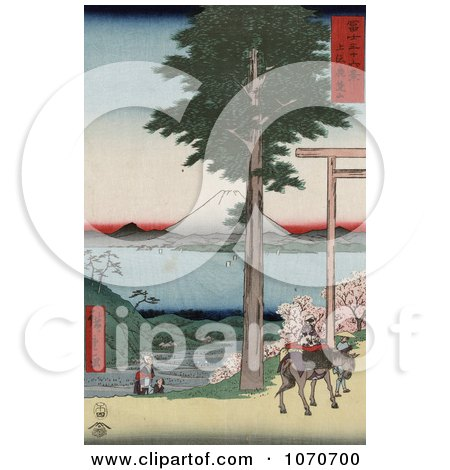 Mount Fuji from across Yedo Bay, From Rokusozan, Kazusa, Japan - Royatly Free Historical Stock Illustration by JVPD