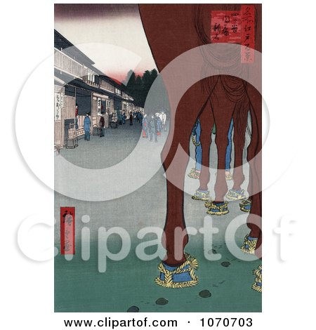 Horse's Legs With a View of Shops, Japan - Royatly Free Historical Stock Illustration by JVPD