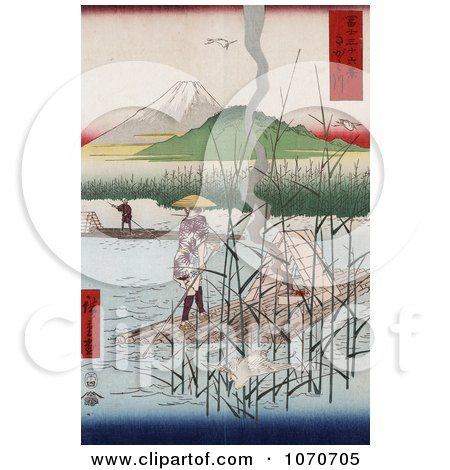 Herons Near Men With Rafts on the Sagami River With a View of Mt Fuji, Japan - Royatly Free Historical Stock Illustration by JVPD