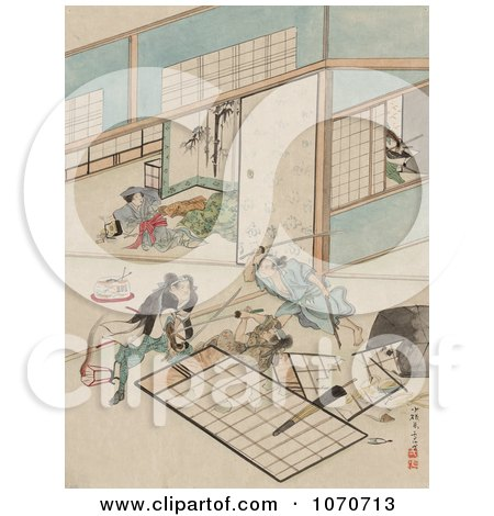 Royalty Free Historical Illustration Of Three Samurai Warriors Combating In A Building