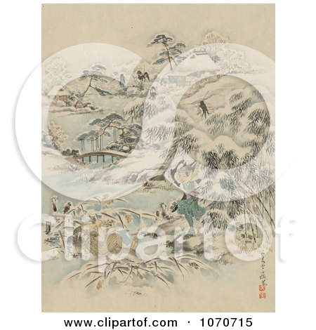 Royalty Free Historical Illustration of Samurai Warriors Searching a Village for Escapees During a Winter Attack by JVPD