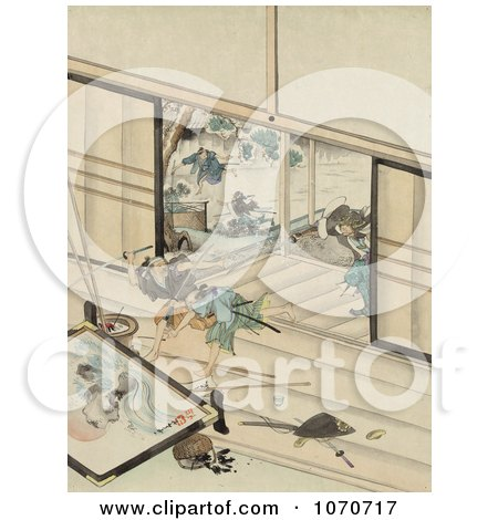 Royalty Free Historical Illustration Of A Samurai Warrior Chasing Two Men In A Building