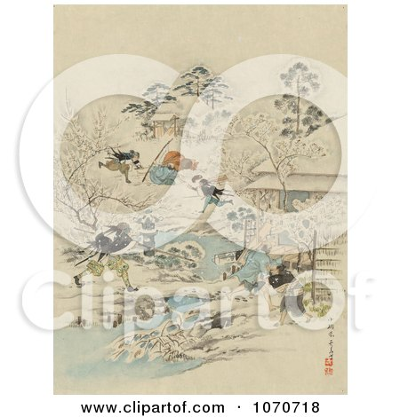 Royalty Free Historical Illustration Of Samurai Warriors Attacking A Community