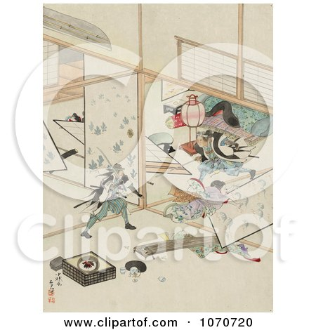 Royalty Free Historical Illustration Of Two Samurai Men Wrecking The Interior Of A House During A Sword Fight