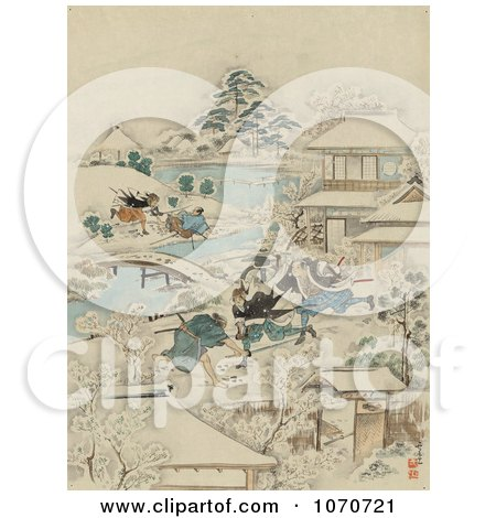 Royalty Free Historical Illustration of Samurai Warriors Attacking Men in a Winter Village by JVPD