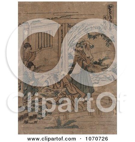 Royalty Free Historical Illustration of Act Nine of the Kanadehon Chushingura by JVPD