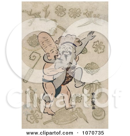 Royalty Free Historical Illustration of Two of the Seven Lucky Gods, Daikoku and and Fukurokuju, Engaged in a Sumo Wrestling Match by JVPD