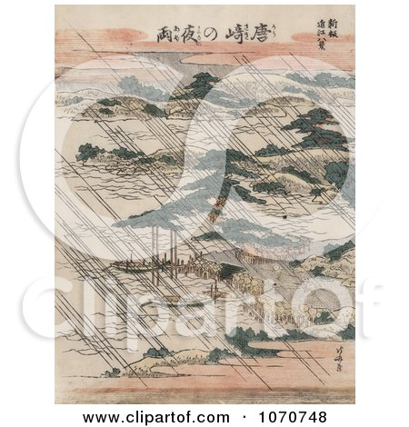 Royalty Free Historical Illustration of Pouring Rain Over Lake Biwa and Karasaki Pine, Japan by JVPD