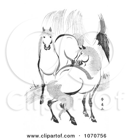 Royalty Free Historical Illustration of a Pair Of Horses By A Willow Tree, Black And White by JVPD