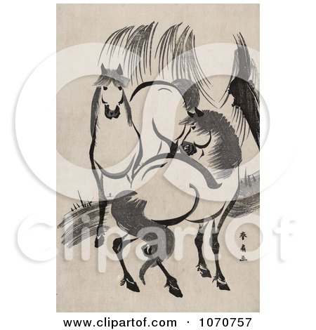 Royalty Free Historical Illustration of Two Horses Near A Willow Tree by JVPD
