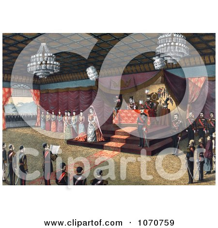 Royalty Free Historical Illustration of The Wedding Receiption Of Crown