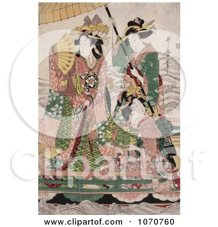 Royalty Free Historical Illustration of Two Servants Fanning And Holding A Parasol Over A Princess On A Boat by JVPD