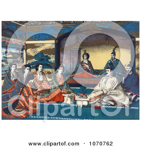 Royalty Free Historical Illustration of Meiji, Emperor Of Japan, And Imperial Family Members Attending The Wedding Of Crown Prince Yoshihito And Princess Kujo Sadako by JVPD