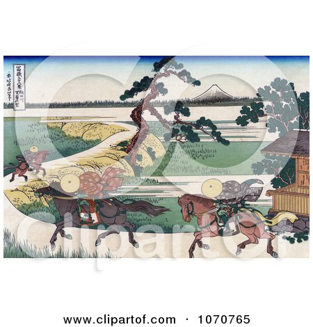 Royalty Free Historical Illustration of Three People On Horseback, Galloping Along The Sumida River, With Mount Fuji In The Distance by JVPD