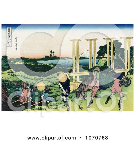 Royalty Free Historical Illustration of Two People Fishing At A Weir In Senju, Musa, And One Person And Horse Transporting Rice Seedlings, Rice Paddies And Mount Fuji In The Distance by JVPD