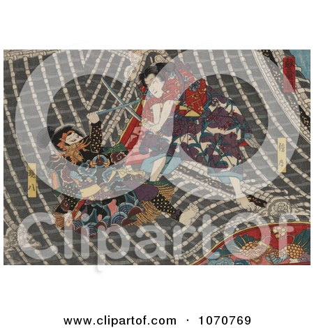 Royalty Free Historical Illustration of Two Japanese Samurai Men Sword Fighting on a Roof by JVPD