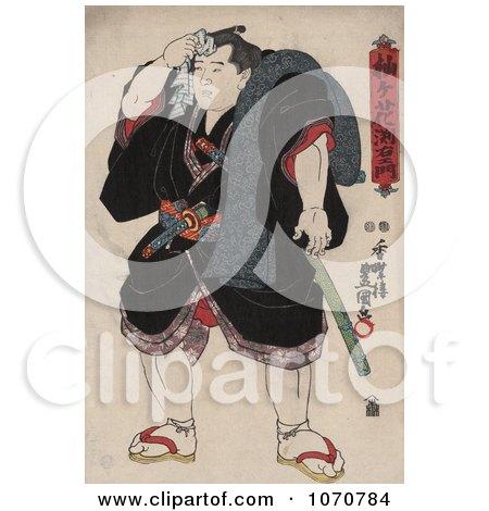 Royalty Free Historical Illustration of the Sumo Rikishi Wrestler, Somagahana Fuchiemon by JVPD