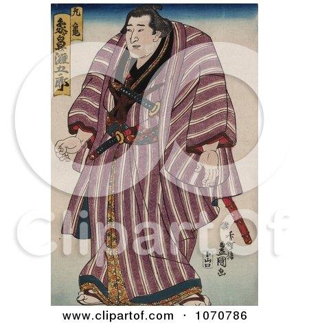 Royalty Free Historical Illustration of a Japanese Sumo Wrestler, Zogahana Nadagoro, Rikishi by JVPD
